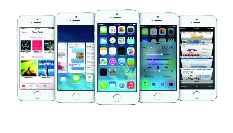 iOS 7 as seen on iPhone 5S