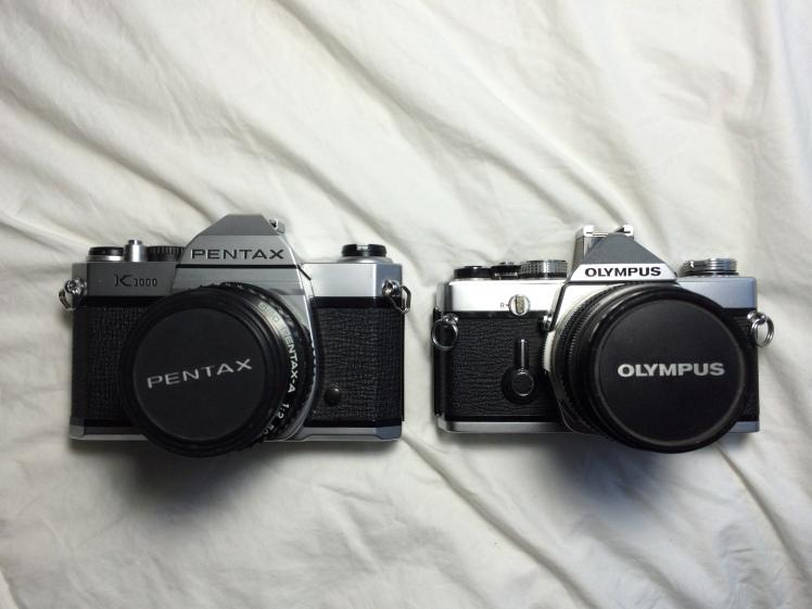 Josh's collection of film cameras.