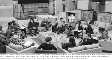April 29th, Pinewood Studios, UK – Writer/Director/Producer J.J. Abrams (top center right) at the cast read-through of Star Wars: Episode VII at Pinewood Studios with (clockwise from right) Harrison Ford, Daisy Ridley, Carrie Fisher, Peter Mayhew, Producer Bryan Burk, Lucasfilm President and Producer Kathleen Kennedy, Domhnall Gleeson, Anthony Daniels, Mark Hamill, Andy Serkis, Oscar Isaac, John Boyega, Adam Driver and Writer Lawrence Kasdan.